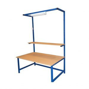 Packing Table with Upper Shelf & Lighting Rail (2000mm x 600mm)