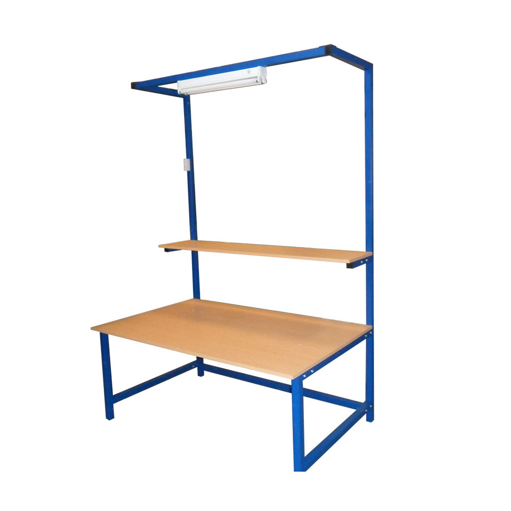Packing Table with shelf and lighting rail