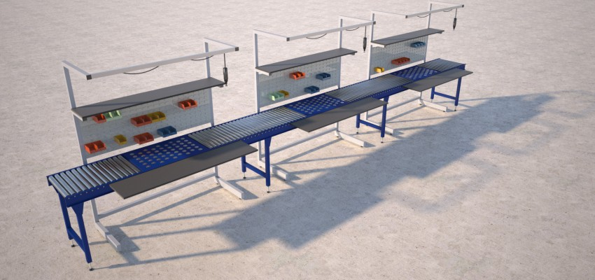 Assembly Line Workstations : Conveyor workstation packing tables by spaceguard