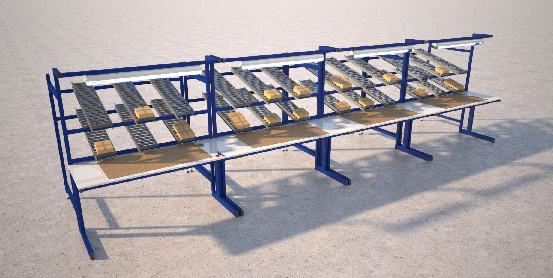 Industrial workbench with roller storage