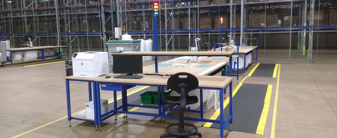 warehouse packing bench system